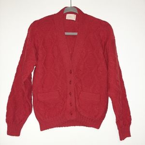 PENDLETON 100% Wool Cable Knit Cardigan Red S